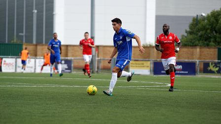 Lowestoft's Harry Barker in possession. Picture: Shirley D Whitlow