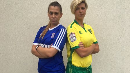 Ipswich Town and Norwich City Ladies captains Aimee Harrison and Kate Parson. Picture: FA WPL