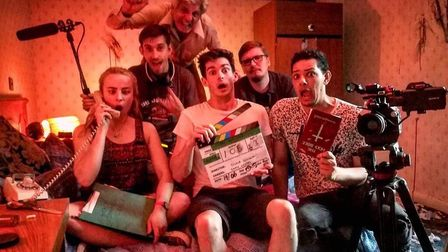 Grace Diggins (far left) on set of the Film Suffolk production The Haunted Hotel. Picture: FILM SUFF