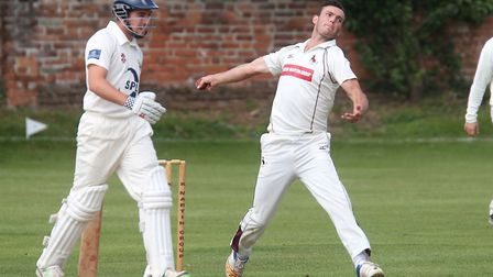 Dustin Melton bowls a delivery during Sudbury's nine-wicket win over Frinton. The impressive Melton
