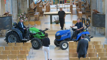 Tractor Rehearsal Chelmsford Cathedral 2017: from left, Nigel Boreham of R C Boreham; The Very Revd