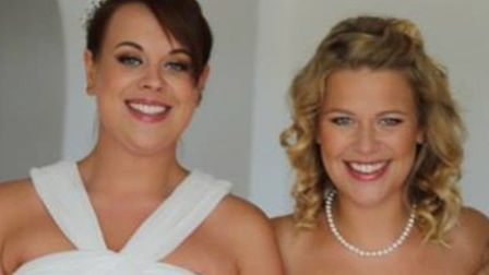 Becky as a bridesmaid for her sister, Sophie. Picture: BECKY'S FAMILY