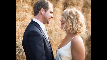Former ski instructor Becky with her husband Luca on their wedding day. Picture: NICK READER