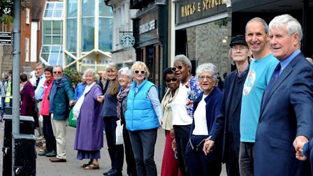 """The first Bury St Edmunds """"human chain of hope"""" last year. Picture: ANDY ABBOTT"""
