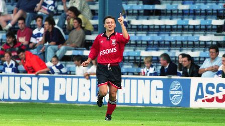Bontcho Guentchev celebrates his final Ipswich Town goal against QPR in the 2-1 win at Loftus Road i