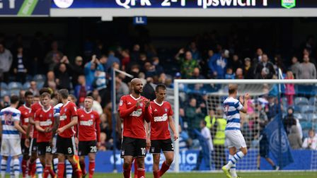 Disappointed Ipswich players at the final whistle after the loss to QPR Picture Pagepix