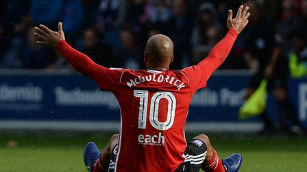 David McGoldrick is left appealing from the floor at Loftus Road Picture Pagepix