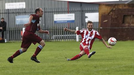 Scott Chaplin fires home the opening goal for the Seasiders. Photo: STAN BASTON