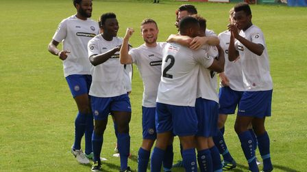 Braintree Town players celebrate a goal at Hemel Hempstead, but poor defending was to prove their do