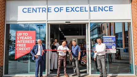 """TV presenter Dom Littlewood cuts the ribbon to open the new SEH BAC 'Centre of Excellence"""" showroom"""