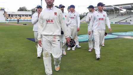 Essex captain Ryan ten Doeschate leads his team off after beating Warwickshire. Picture: PA