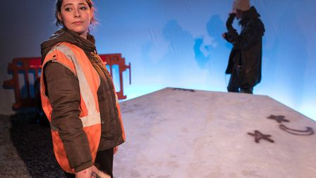 Lucy Carless & Philippe Spall in Sea Fret, a new play by Tallulah Brown about coastal erosion, being