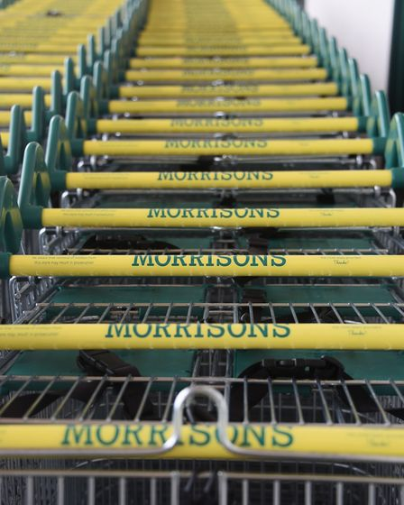 Shopping trolleys at a Morrisons store. Picture: DENISE BRADLEY