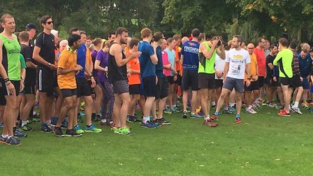 Runners before the start of the 240th Cheltenham Parkrun in Pittville Park last Saturday. Picture: C