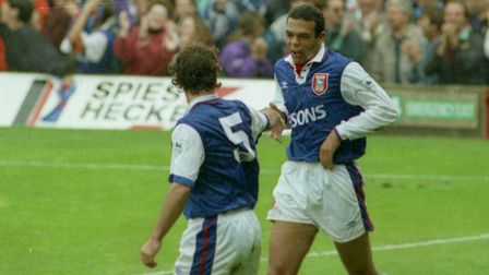 Ipswich Town goalscorer Jason Dozzell celebrates Town's fourth goal in the 4-2 win over Leeds in 199