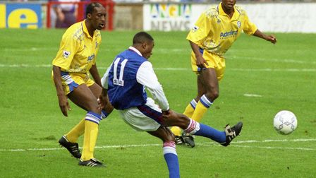 Ipswich Town forward Chris Kiwomya takes a shot during Ipswich Town's 4-2 win over Leeds in 1992