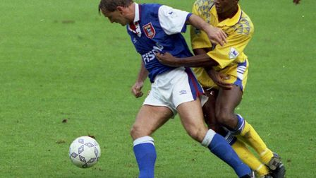 Ipswich Town forward Paul Goddard battling for the ball during Ipswich Town's 4-2 win over Leeds in