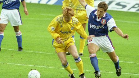 Ipswich Town midfielder Geraint Williams battling for the ball during Ipswich Town's 4-2 win over Le