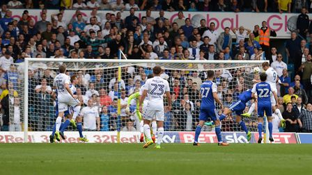 Chris Wood heads the winning goal for Leeds against Ipswich at Elland Road almost a year ago to the