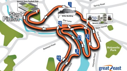 The course map of the Great East Run Ipswich 2017. Pic: The Great Run Company.