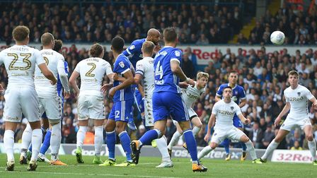 David McGoldrick rises highest to score during the first half at Elland Road Picture Pagepix