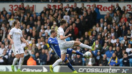Joe Garner has a great chance blocked at Leeds during the first half Picture Pagepix