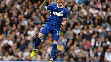 Joe Garner celebrates his goal at Leeds during the second half Picture Pagepix