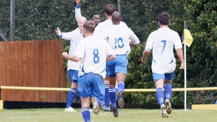 Enfield players celebrate their dramatic win at Stowmarket in the FA Vase. Picture: PAUL VOLLER