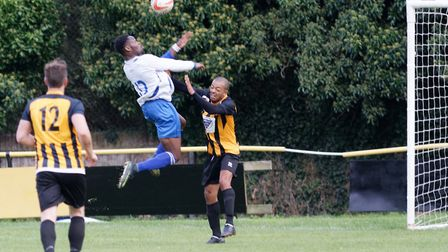 Substitute Abiola Balogun heads home Enfield's winner in the last minute of extra time. Picture: PAU