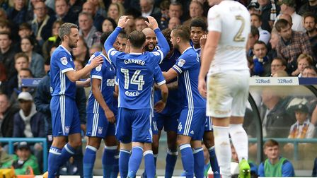 David McGoldrick is all smiles after scoring during the first half at Elland Road. Picture: PAGEPIX