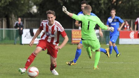 Jordan Matthews finds himself clear to complete his double and put Felixstowe 2-0 ahead against Wive