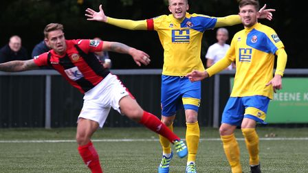 Sudbury's Sam Clarke appeals to the ref. He made it 1-1 from the spot. Picture: RICHARD MARSHAM