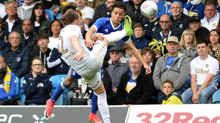 Tristam Nydam risks his head as he goes in for the ball at Elland Road Picture Pagepix