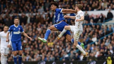 Tom Adeyemi wins a header at Leeds Picture Pagepix