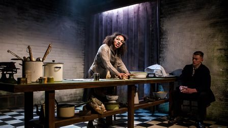 Mae Munuo as Mrs Lovett and Oliver Ward as Sweeney Todd in the New Wolsey Young Company's production