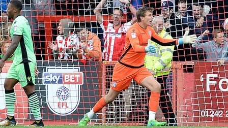 U's keeper Sam Walker complains to the linesman about Cheltenham's third goal, during Saturday's 3-1