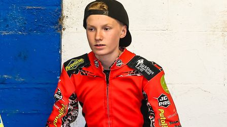 Teen star Drew Kemp in the pits at Foxhall. Photo: STEVE WALLER