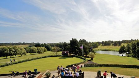 The Golfers' Terrace overlooking both 18th greens and stunning Constable Country at Stoke by Nayland