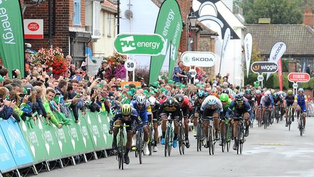 The sprint finish in Aldeburgh. Picture: SARAH LUCY BROWN
