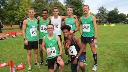 Colchester Harriers' successful squad at the Dedham 10K, back row (from left): Nate Filer, Ramadan O