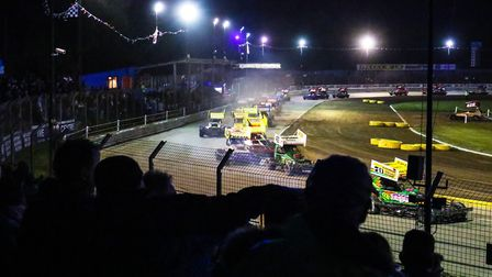 Action from one of the BrisCAR F1 Stockcar world championship support races held at Foxhall Stadium,