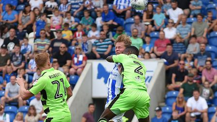 Frankie Kent scores with a header during the 5-1 home win over Forest Green Rovers from earlier this