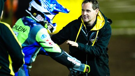 Witches promotor Chris Louis congratulates Rory Schlein after his win in heat 13.