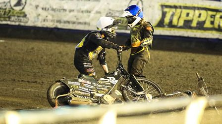 Erik Riss (left) and Nathan Greaves after their heat 14 crash. PICTURE: STEVE WALLER WWW.STEPH