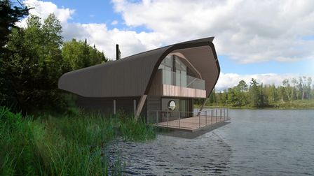 A CGI image of the new three-bedroom waterside lodges at Center Parcs Elveden Forest, which are due