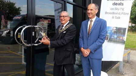 The Mayor of Castle Point, Brian Wood, opening the new Hughes store in Rayleigh Weir, alongside comp