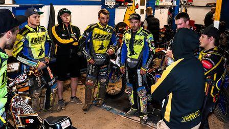 Ritchie Hawkins, nearest with back to camera holds a team meeting last week during the Witches v Red