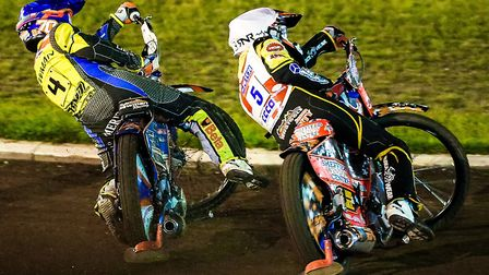 Jason Garrity leads Kyle Newman in heat nine of the Redcar/Witches clash last week.
