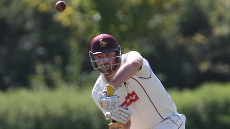 Tom Huggins plays a shot off the front foot during his superb innings of 109 in Sudbury's big win at