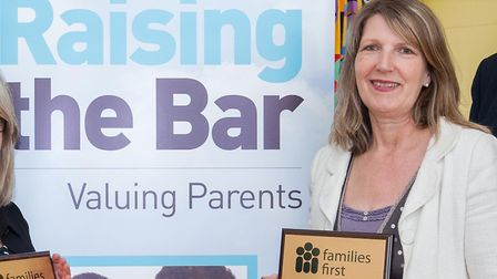 Alison Earl, when she was headteacher of Barrow Primary, with a Families First Award. Picture: CONTR
